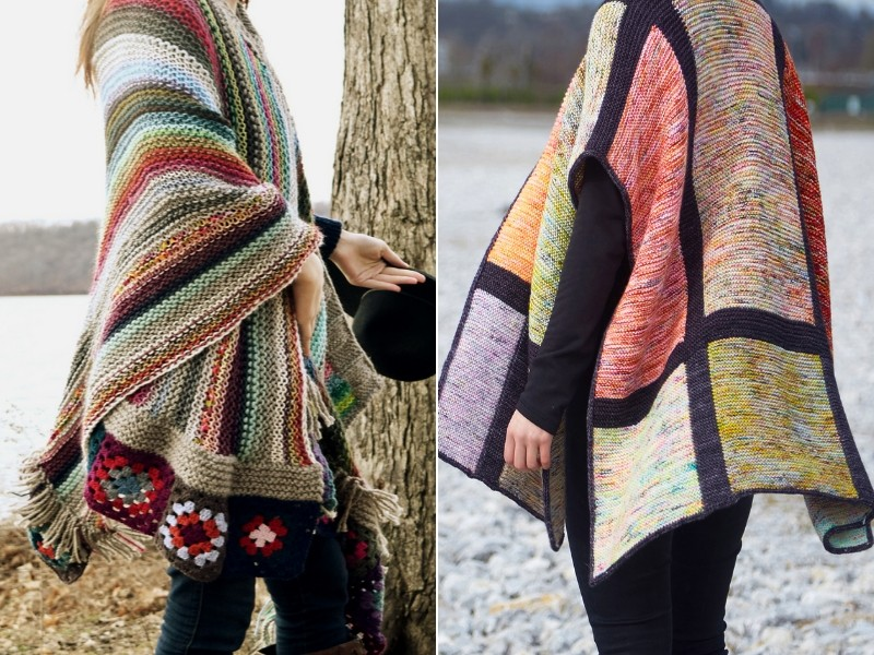 Oversized Multicolor Wraps Free Knitting Patterns