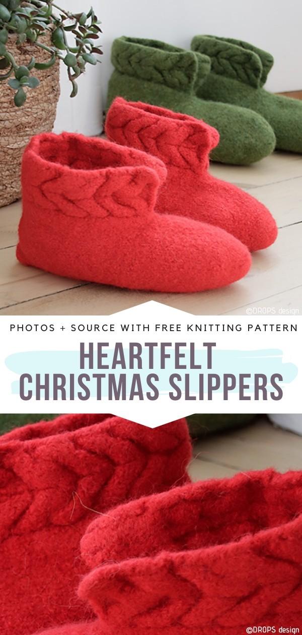 Heartfelt Christmas Slippers Free Knitting Pattern
