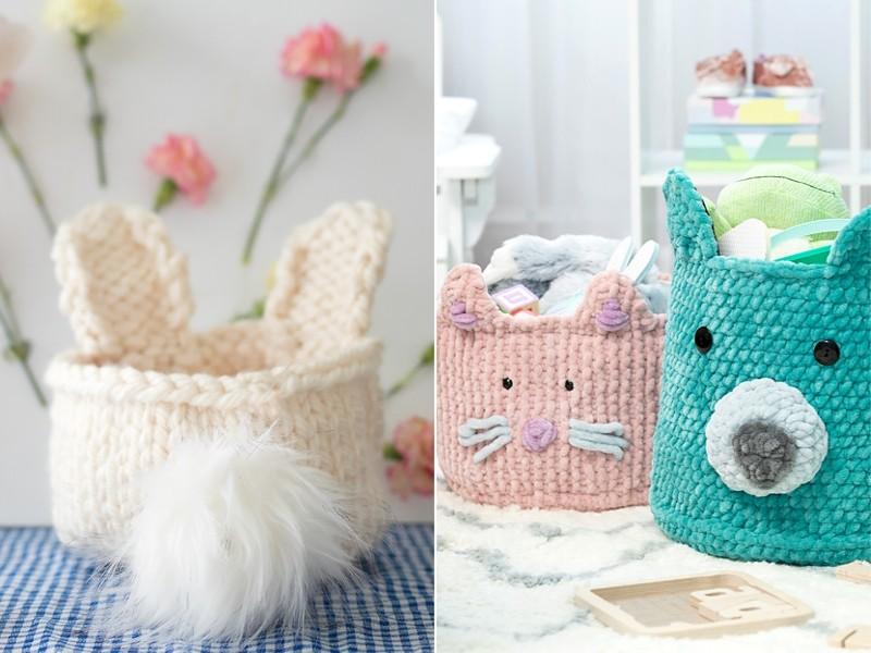 Cute Animal Baskets Free Knitting Patterns