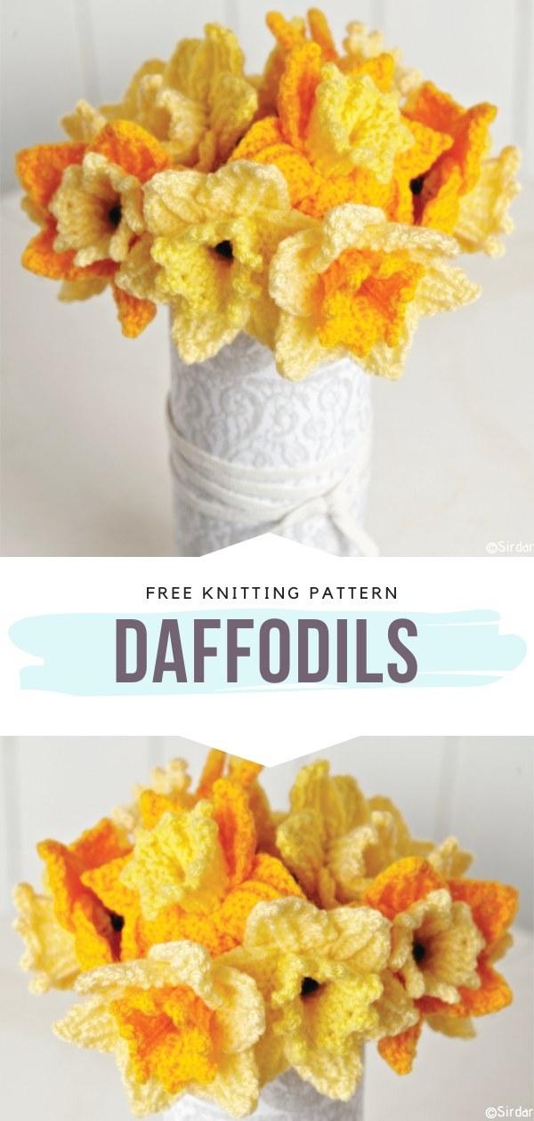 Daffodils Free Knitting Pattern