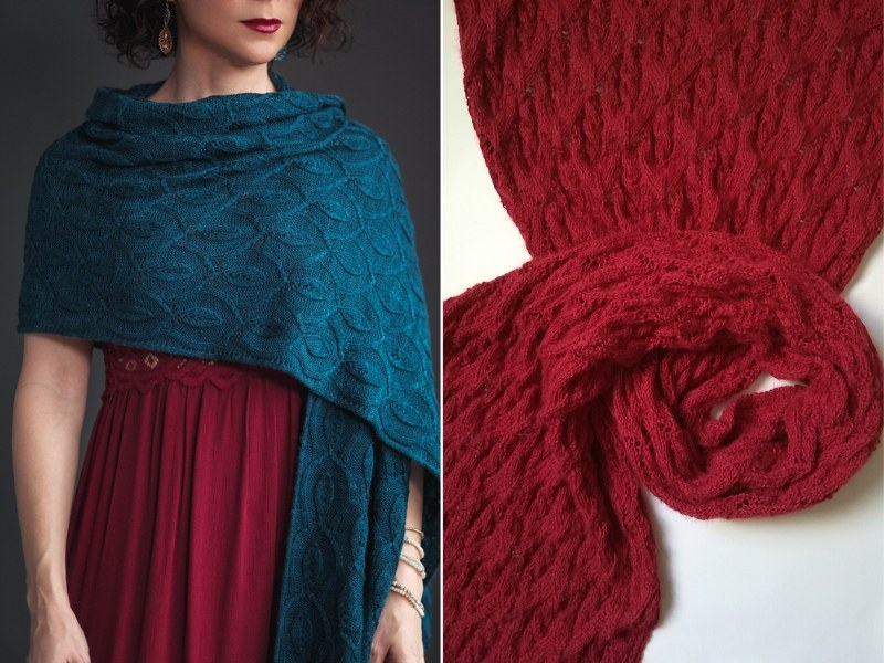 Deep Shades Wraps Free Knitting Patterns