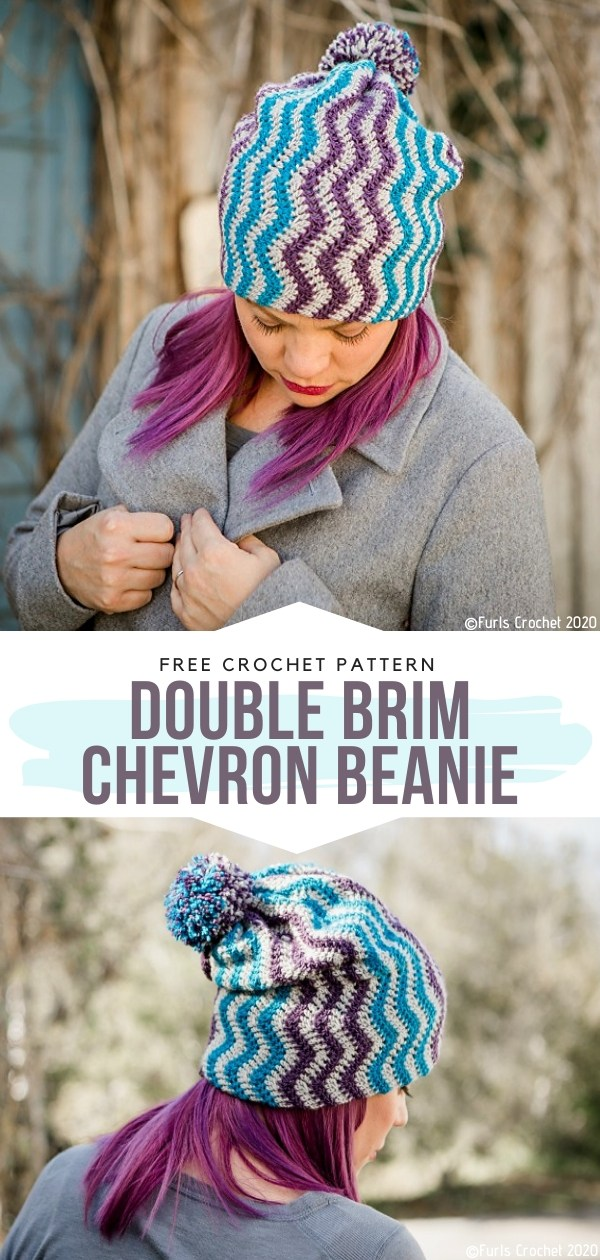 Double Brim Chevron Beanie Free Crochet Pattern