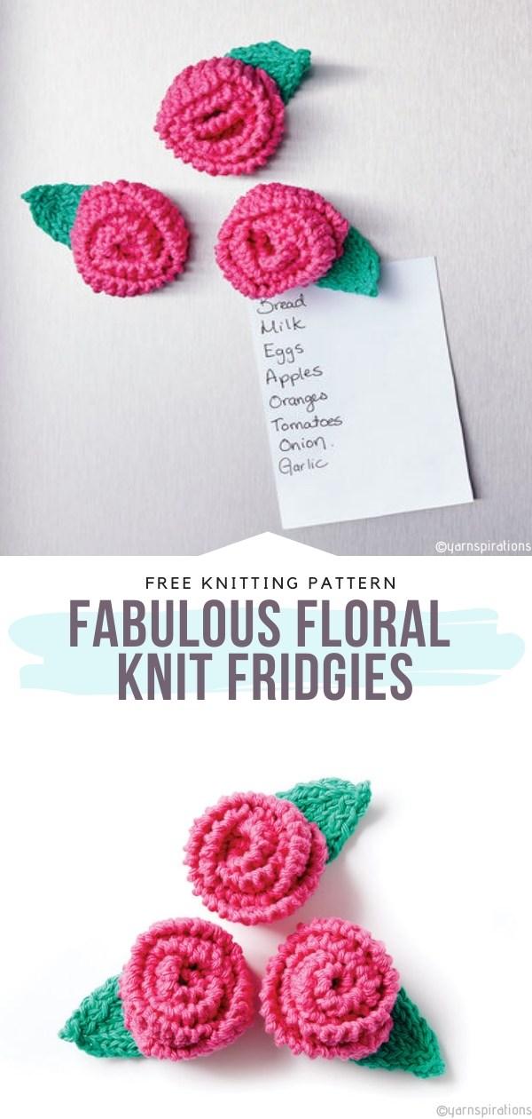 Fabulous Floral Knit Fridgies Free Knitting Pattern