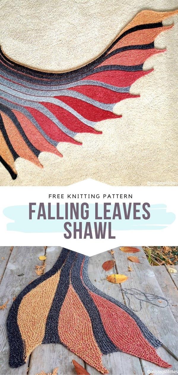 Falling Leaves Shawl Free Knitting Pattern