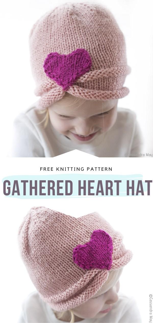 Gathered Heart Hat Free Knitting Pattern