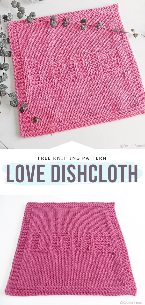 Knitted LOVE dishcloth