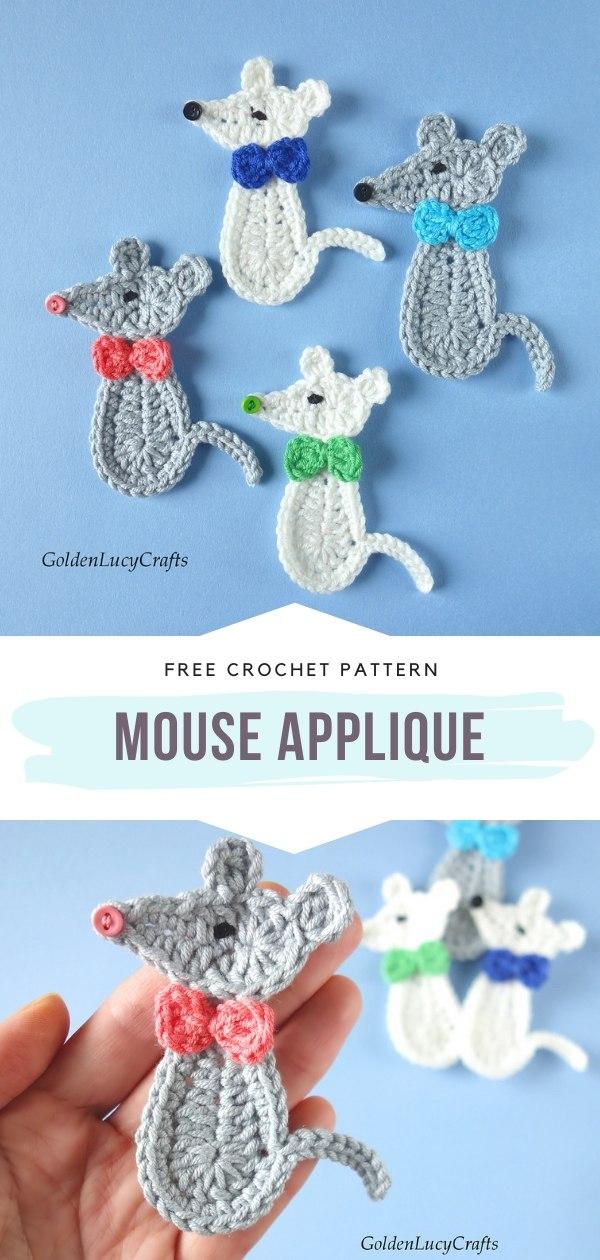 Mouse Crochet Applique