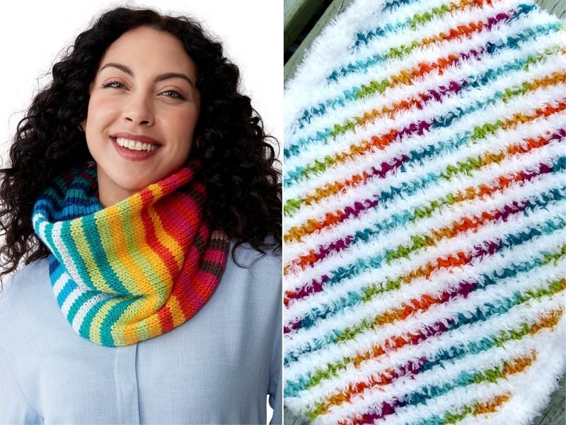 Rainbow Cowls Free Crochet Patterns