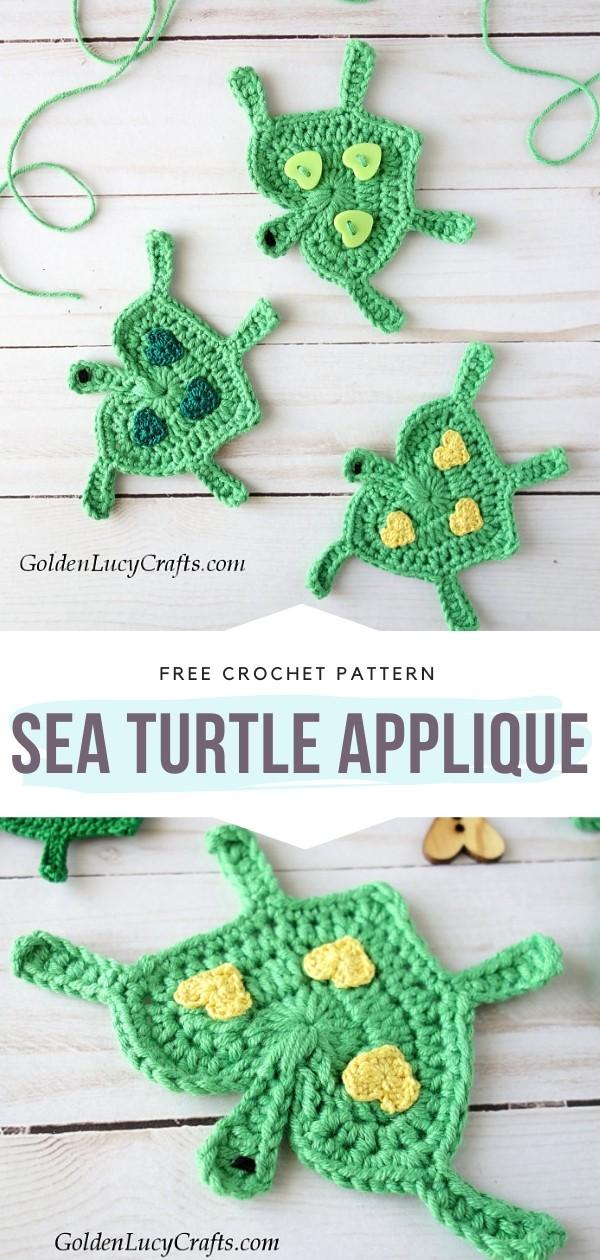 Sea Turtle Applique Free Crochet Pattern