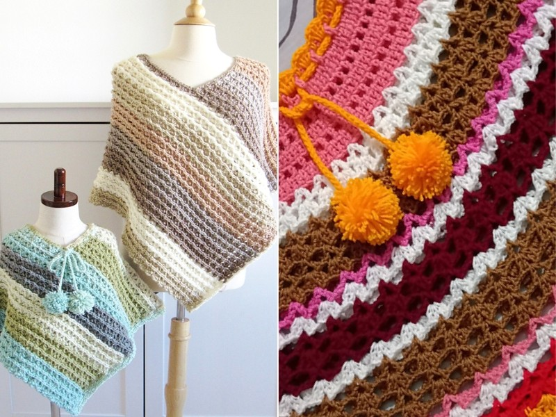 Striped Baby Ponchos Free Crochet Patterns