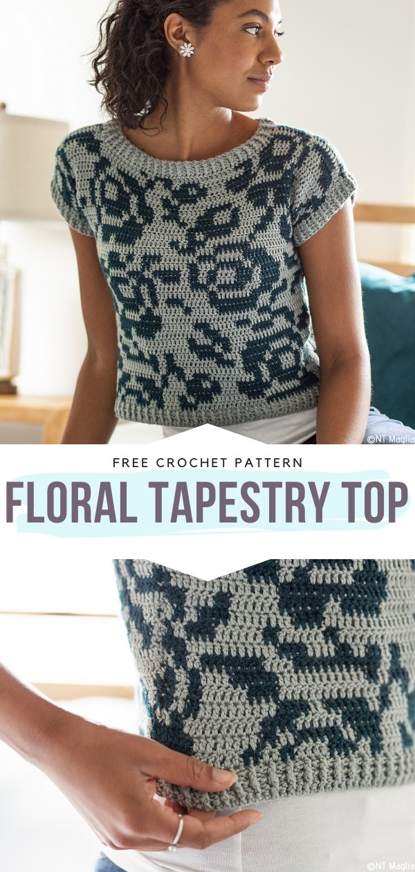 Floral Tapestry Top Free Crochet Patterns