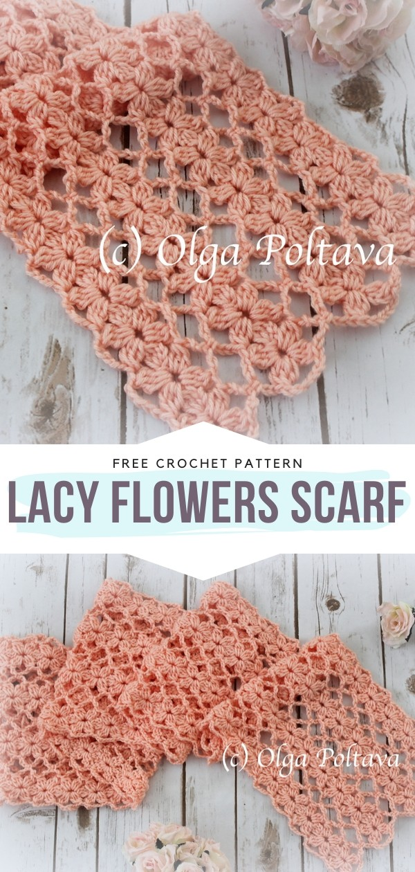 Lacy Flowers Scarf