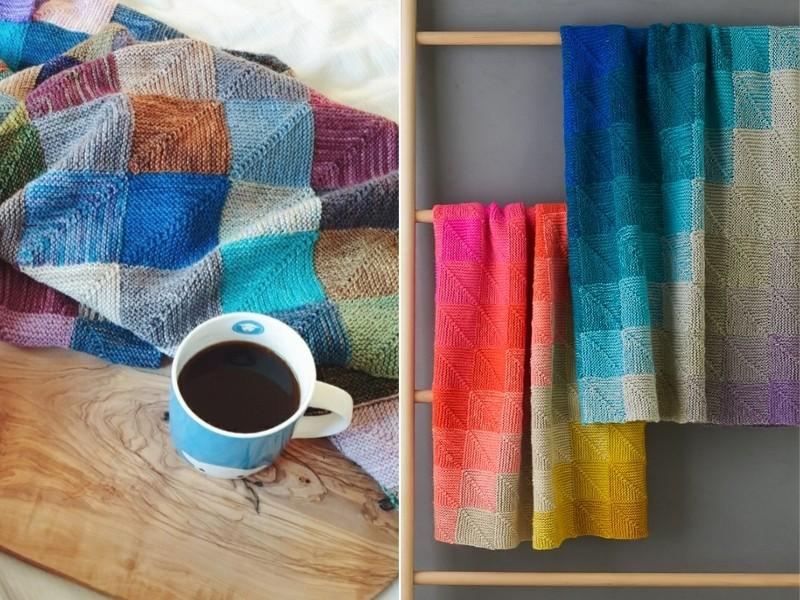 Mitered Squares Blankets Free Knitting Patterns