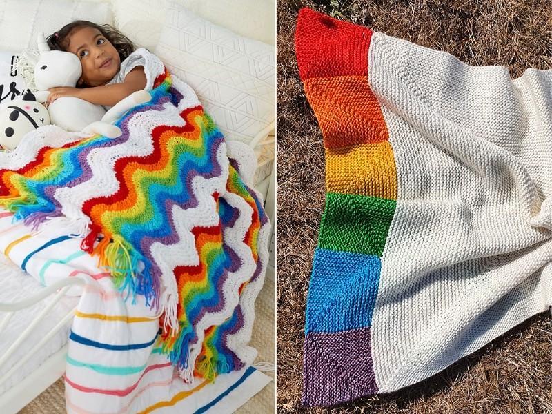 Rainbow Blankies Free Knitting Patterns