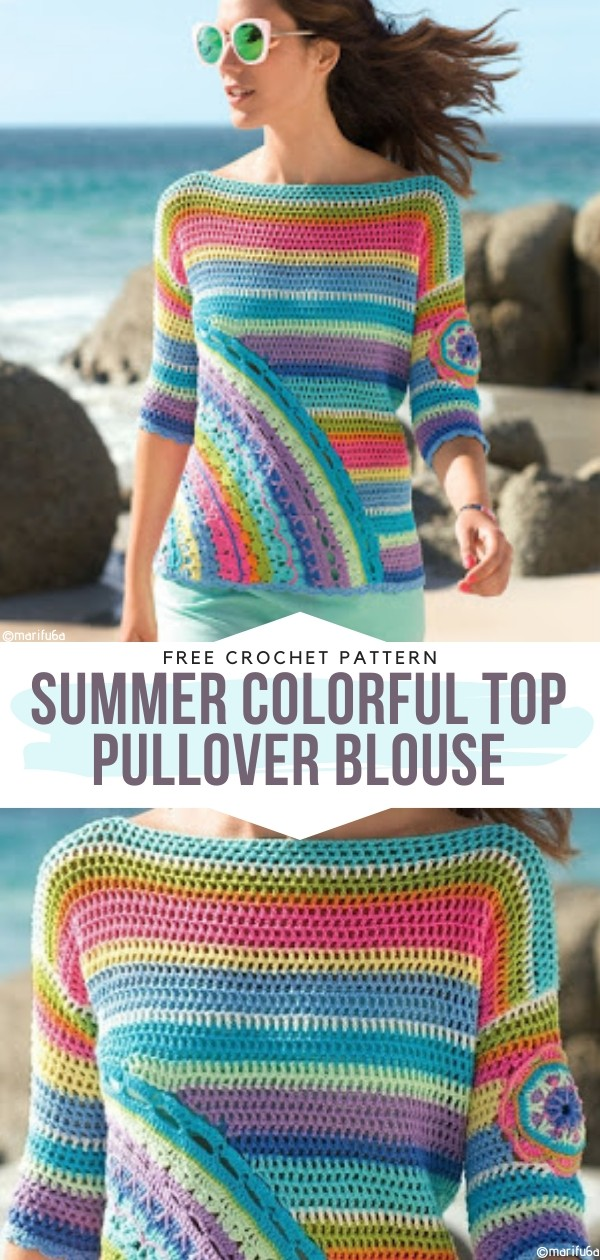 Summer Colorful Top Pullover Blouse Free Crochet Patterns