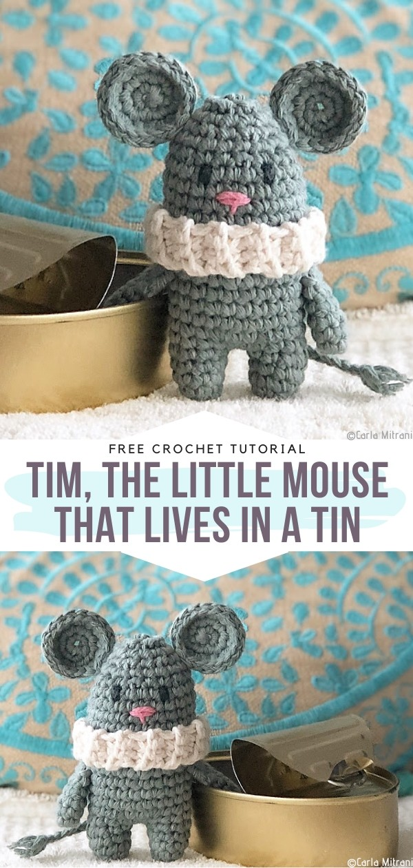 Tim, the little mouse that lives in a tin Free Crochet Pattern