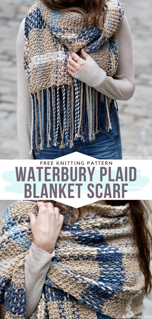 Waterbury Plaid Blanket Scarf Free Knitting Pattern