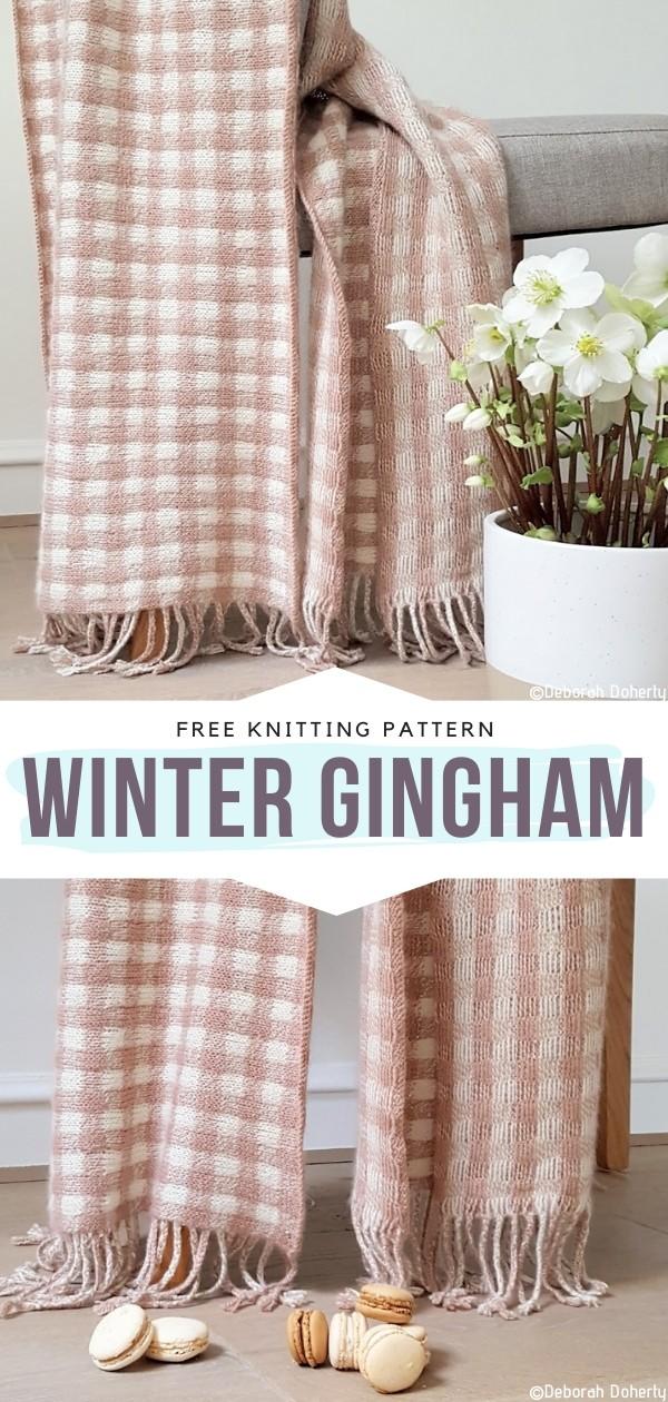 Winter Gingham Free Knitting Pattern