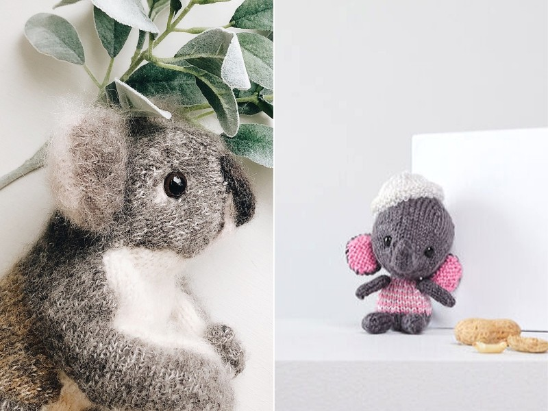 Grey Animals Free Knitting Patterns