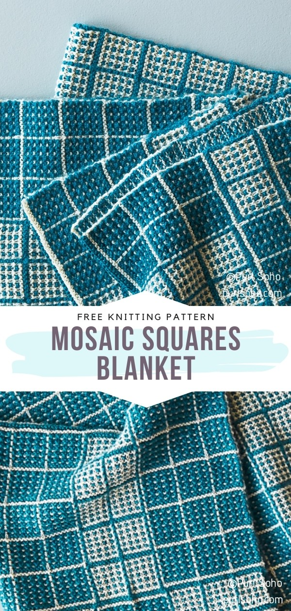 Mosaic Knit Squares Blanket