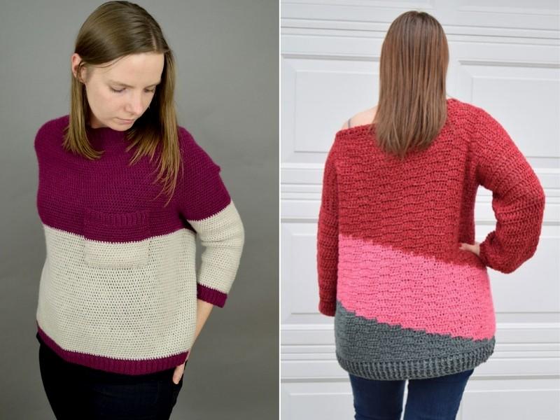 Color Block Sweaters Free Crochet Pattern