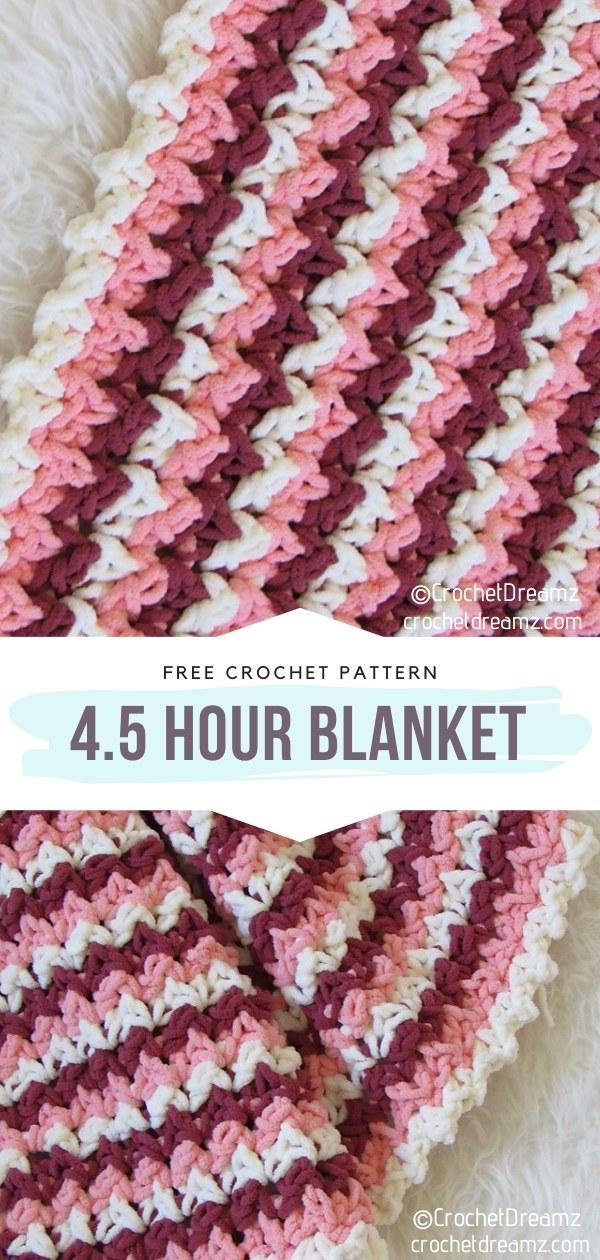 4.5 Hour Blanket Free Crochet Pattern