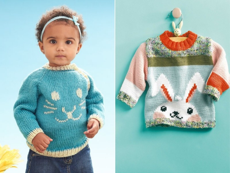 Baby Bunny Pullovers Free Knitting Patterns