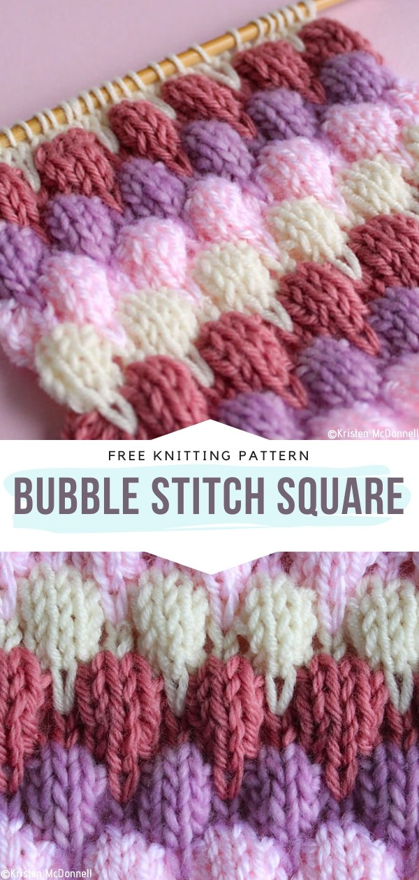 Bubble Stitch Square Free Knitting Pattern