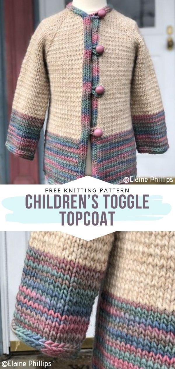 Children's Toggle Topcoat Free Knitting Pattern