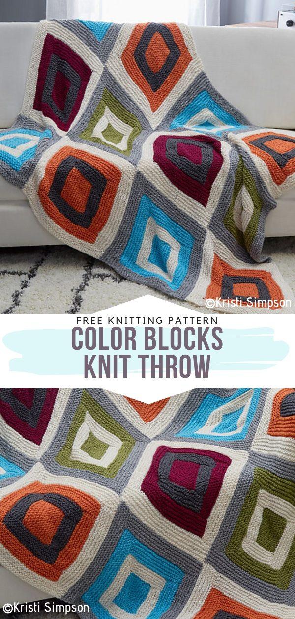 Color Blocks Knit Throw Free Knitting Pattern