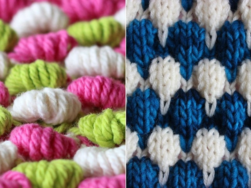 Colorful Bobble Stitches Free Knitting Patterns