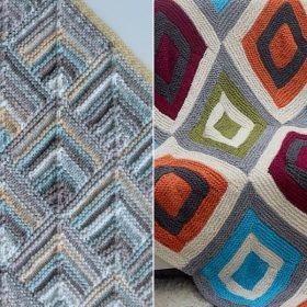 Colorful Tiles Throws Free Knitting Patterns