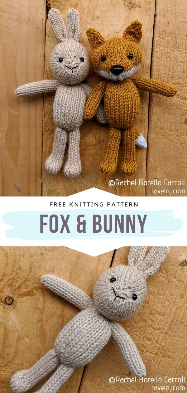 Knitted Fox & Bunny