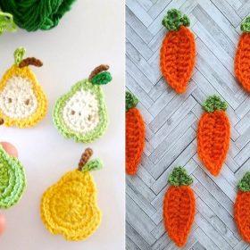 Fruit and Veggies Appliques Free Crochet Patterns