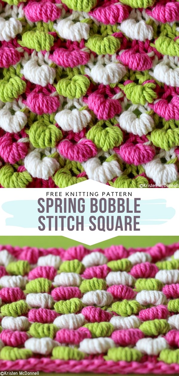 Spring Bobble Stitch Square Free Knitting Pattern