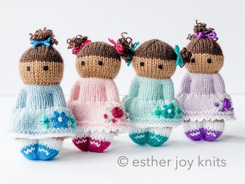 Spring Flower Dolls Free Knitting Patterns