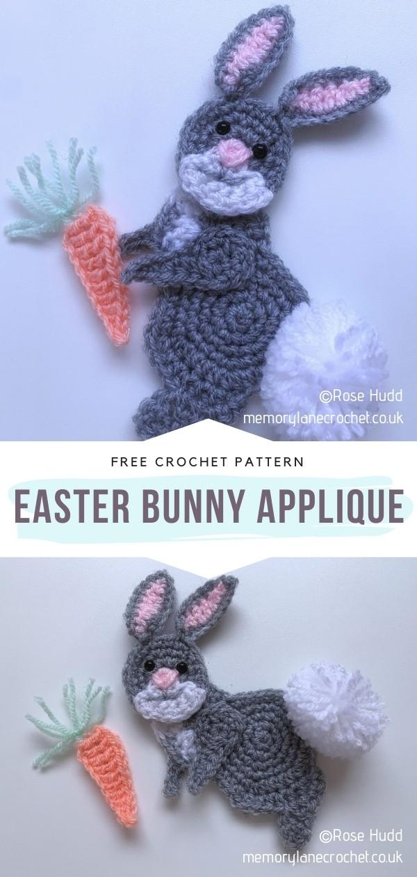 crochet Easter bunny applique