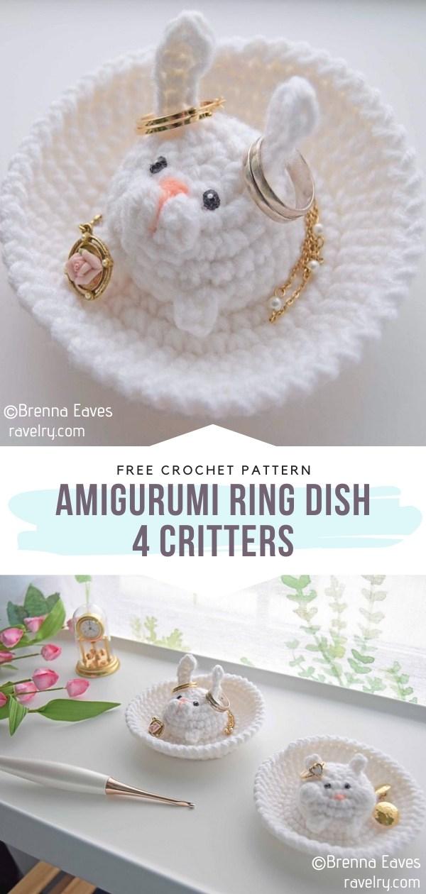 Crochet Amigurumi Ring Dish 4 Critters