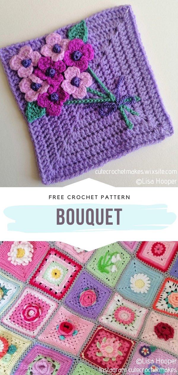 Bouquet Crochet Square