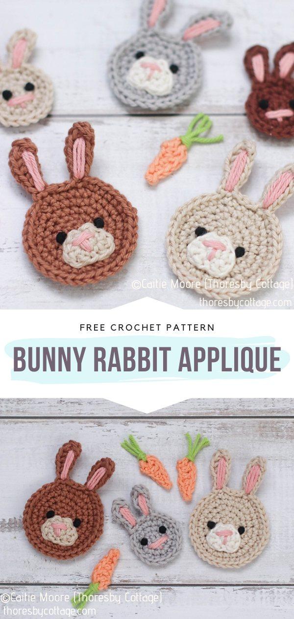 Bunny Rabbit Crochet Applique