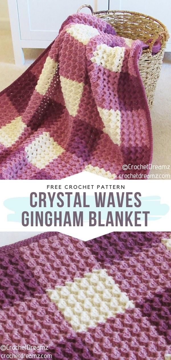Crystal Waves Crochet Gingham Blanket