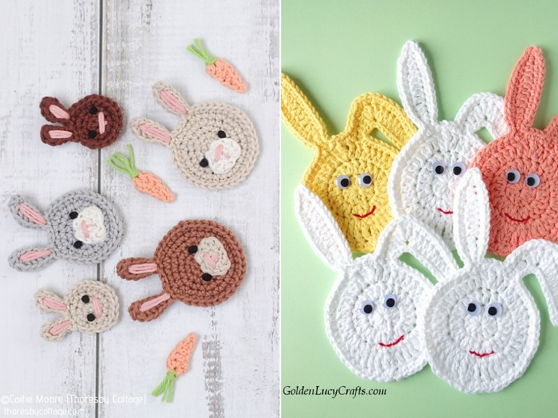 Easter Bunny Appliques Free Crochet Patterns