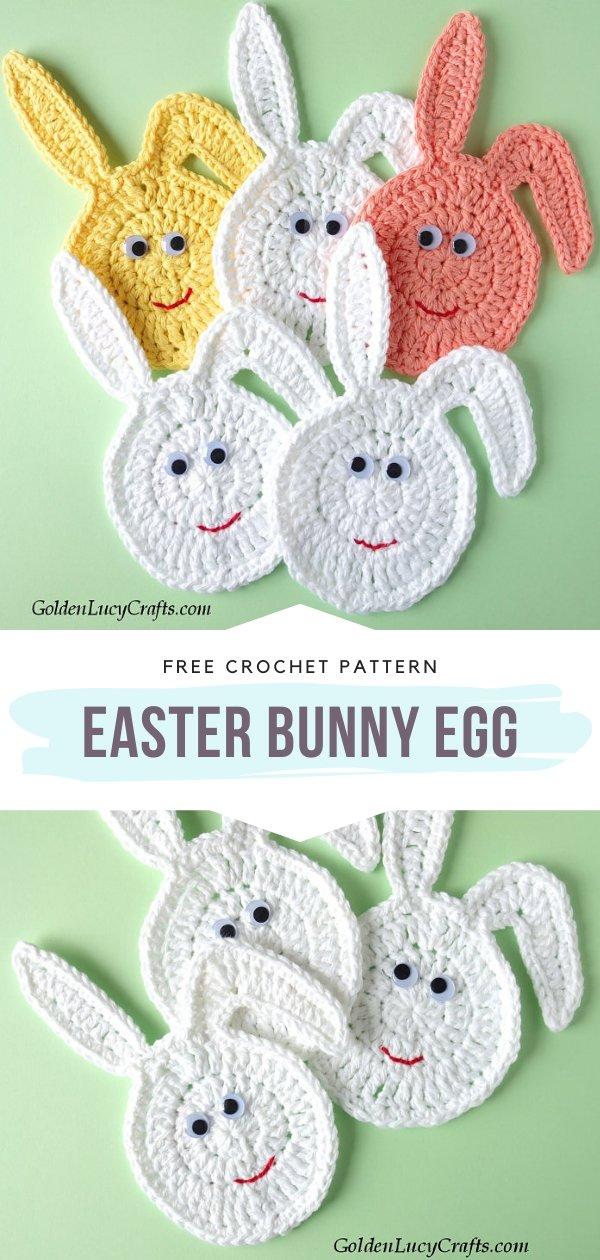 Easter Bunny Egg Crochet Applique