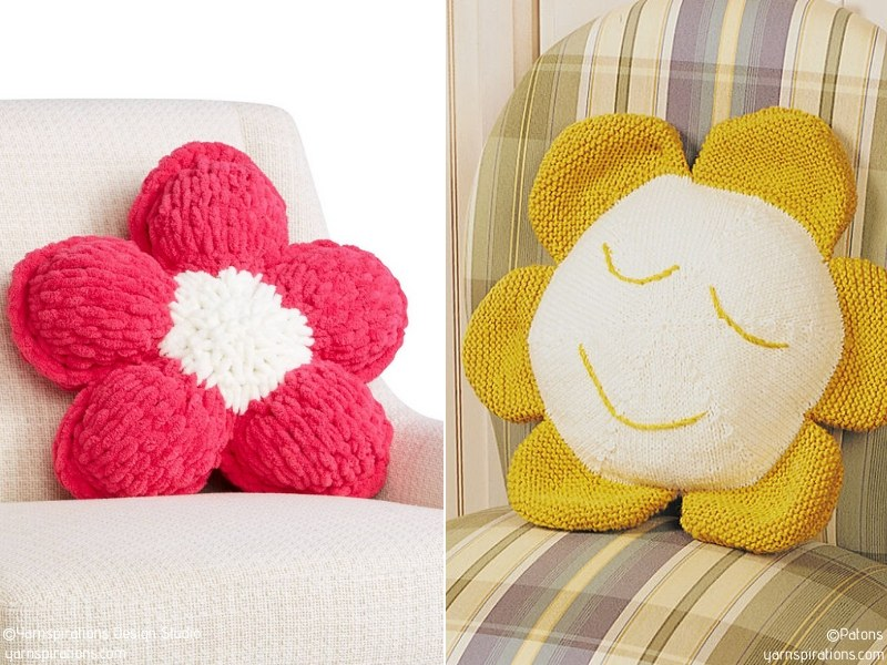 Easy Knit Flower Pillows