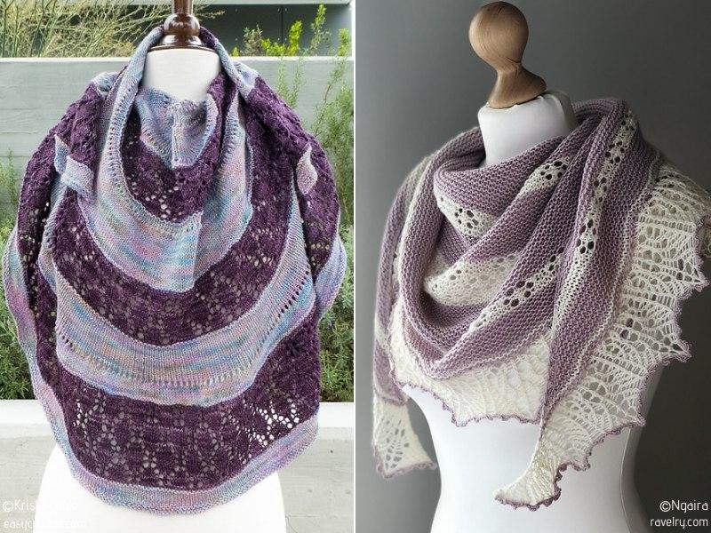 Knit Lacy Stripes Shawls