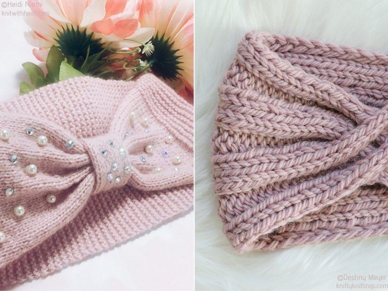 Powder Pink Knit Headbands