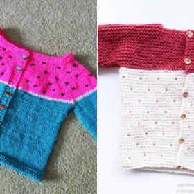 Seed Motif Baby Sweaters Free Knitting Patterns