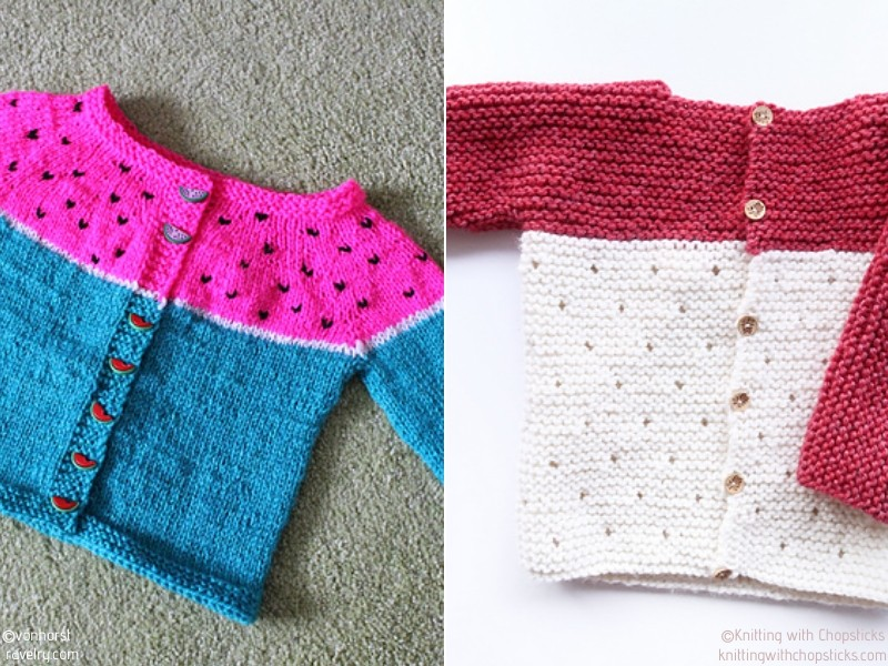 Seed Motif Baby Sweaters