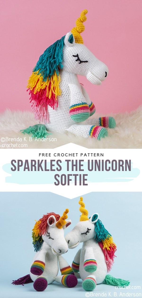 Sparkles the Unicorn Crochet Softie