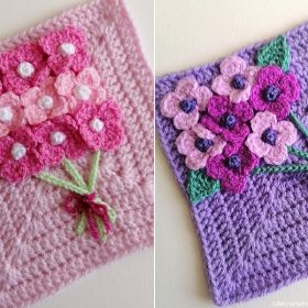 Spring Flower Blanket Squares Free Crochet Patterns